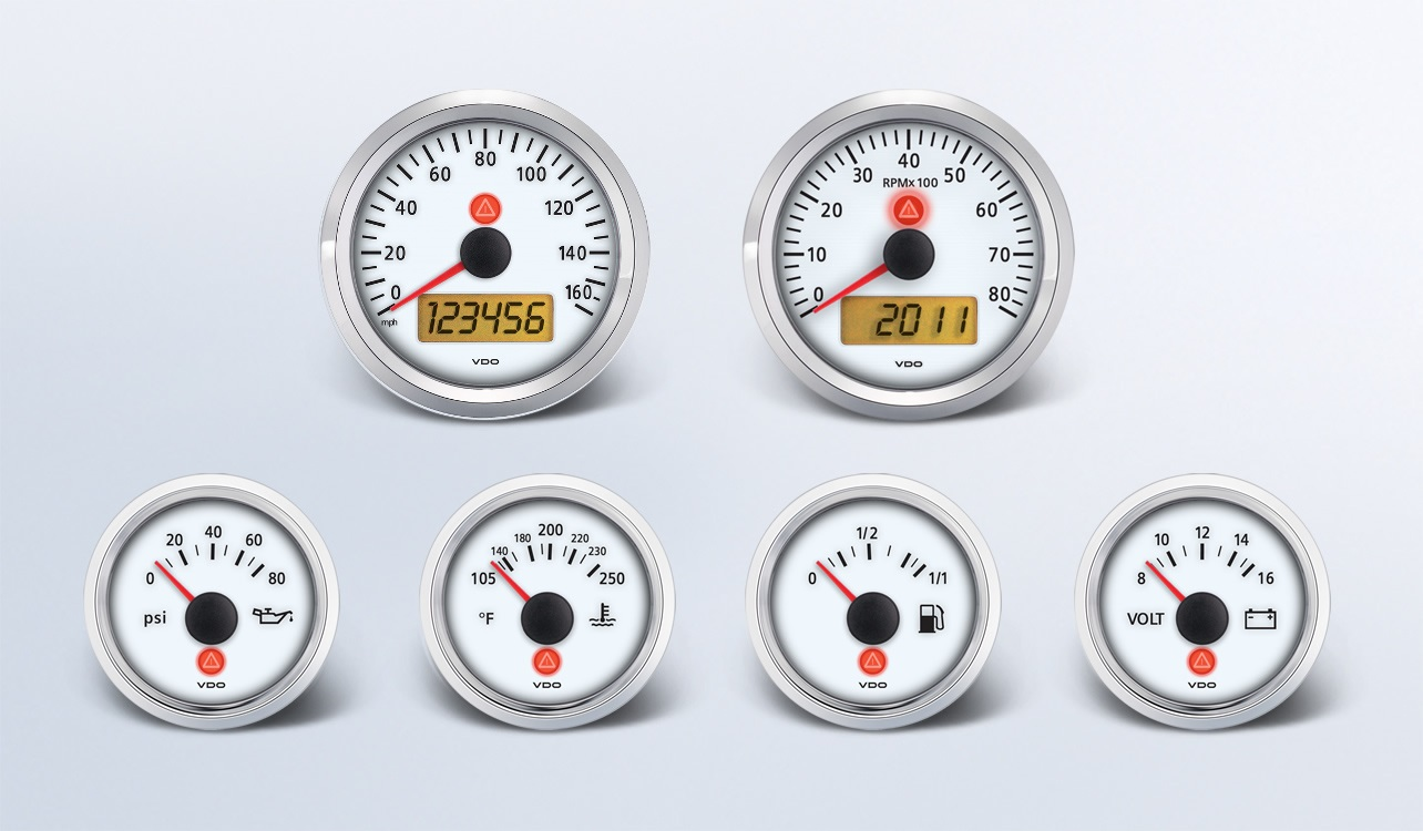 Automotive Gauges From Vehicle Controls 600 97066 160 All Marine Vdo Auto Gauge Tach Wiring 6 Instrument Kit For Ford With 3 8 160mph Speedometer And 6k Tachometer Dial Color White Bezel Chrome Pointer Red